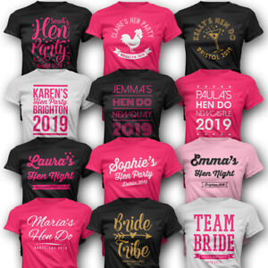 Details About Personalised Hen Party T Shirts Custom Printed Add Optional Back Name Number