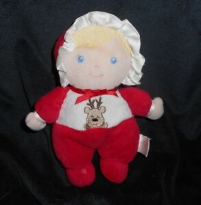 8-034-PRESTIGE-BLONDE-BABY-DOLL-CHRISTMAS-REINDEER-RATTLE-STUFFED-ANIMAL-PLUSH-TOY