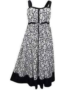 Denim-24-7-ladies-dress-size-14-black-and-white-panelled-floral-sundress