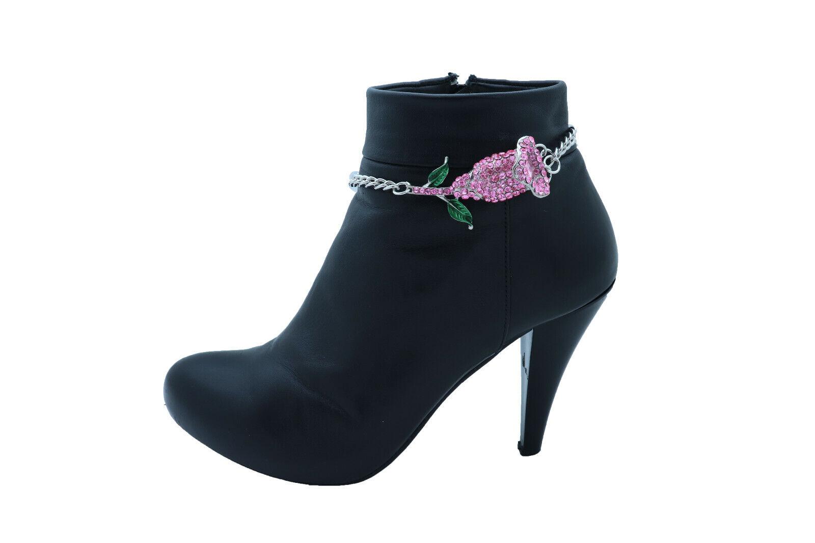 Cute Women Silver Metal Chain Boot Bracelet Shoe Pink Flower Charm Dressy Anklet