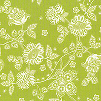 "Cotton Med Weight Covering Curtain Upholstery Fabric Shabby Floral Green 44"" BTY"