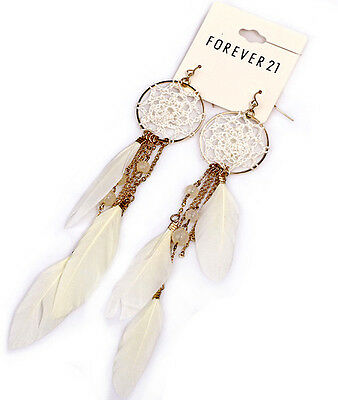 NWT Forever 21 Dreamcatcher White Feather Gold Chain Beaded Teardrop Earrings