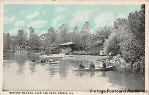 PEORIA-IL-1915-30-Boating-on-Glen-Oak-Lagoon-in-Glen-Oak-Park-VINTAGE-ILLINOIS