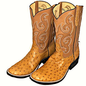 Details About Rios Of Mercedes Antique Saddle Full Quill Ostrich Cowboy Dress Boots Mens 10 E