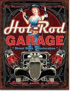 Hot-Rod-Garage-Rat-Rods-Gas-Vintage-Retro-Wall-Decor-Pinup-Metal-Tin-Sign-New