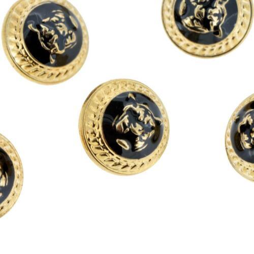 Set 6 Negro Metal Tono Oro Línea Cara De Tigre Borde Domo 15mm estilo diseñador de botones