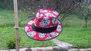 DAY OF THE DEAD DIA DE LOS MUERTOS MEXICAN STYLE MENS LEATHER FEDORA ... ca6efb6f5f5
