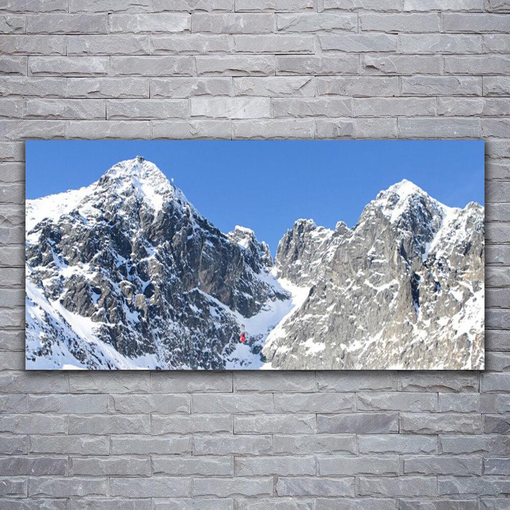 Verre Imprimer Wall Art Image 120x60 photo montagne neige paysage
