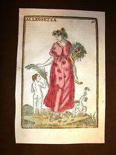 Allegrezza Allegria Settecentina acquerellata a mano del 1785 Andre Declaustre