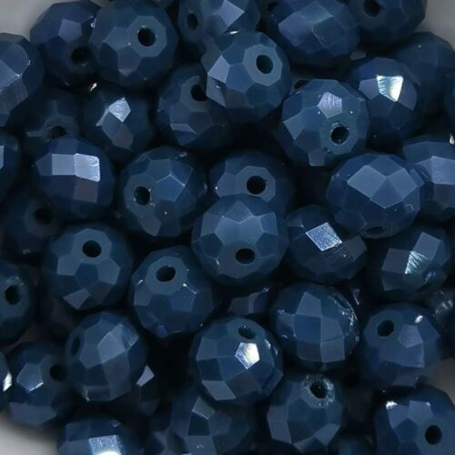 20x vidrio-facett-perlas de vidrio esmerilado PEACOAT-Blue 60941 8x6mm Miperla