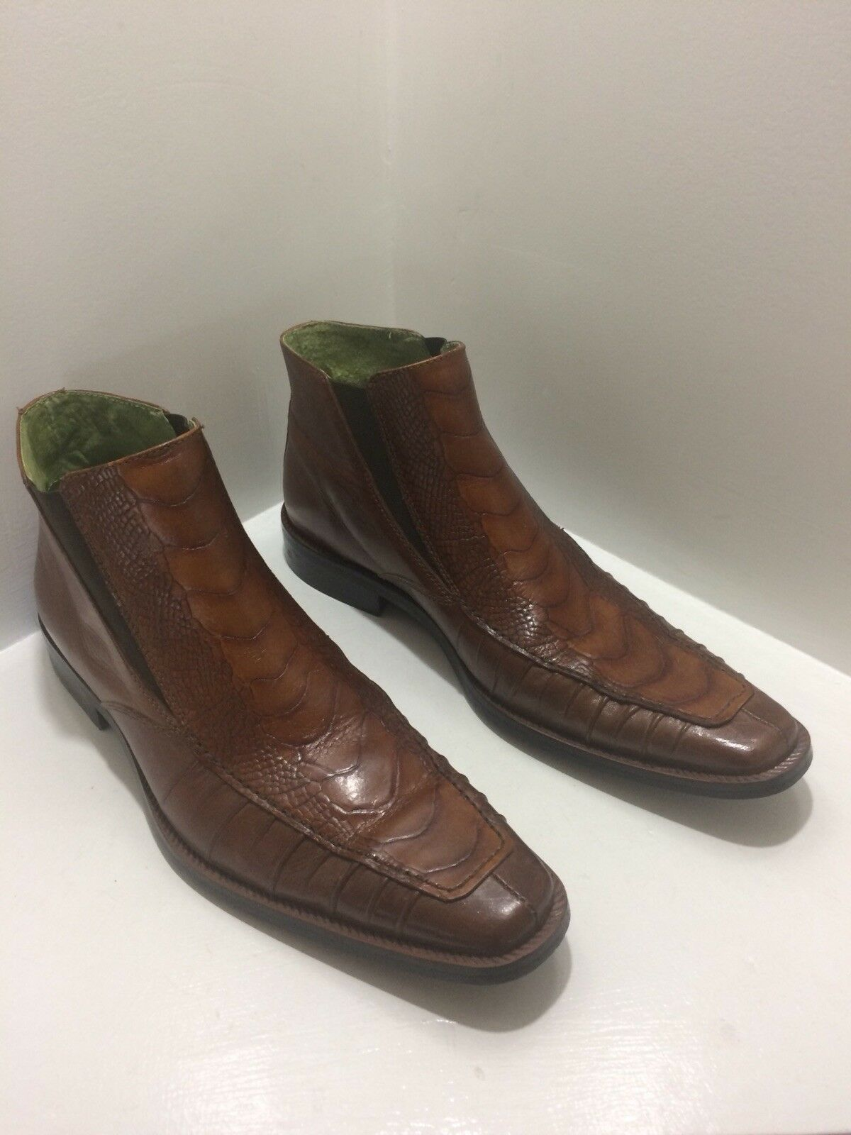 "MARCO VICCI ""Barrow"" Men's Cognac Leather Crocodile Print Ankle Boots Size 8.5M"
