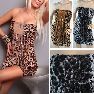 9b5ddee8f74a 2019 Sexy Animal Print Leopard Spots Big Cat Tube Top Sequined Mini ...