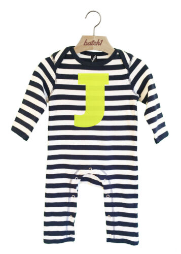 BATCH1 ALPHABET STRIPY LONG SLEEVED BOYS BABYGROW PERSONALISED NEON LETTER J