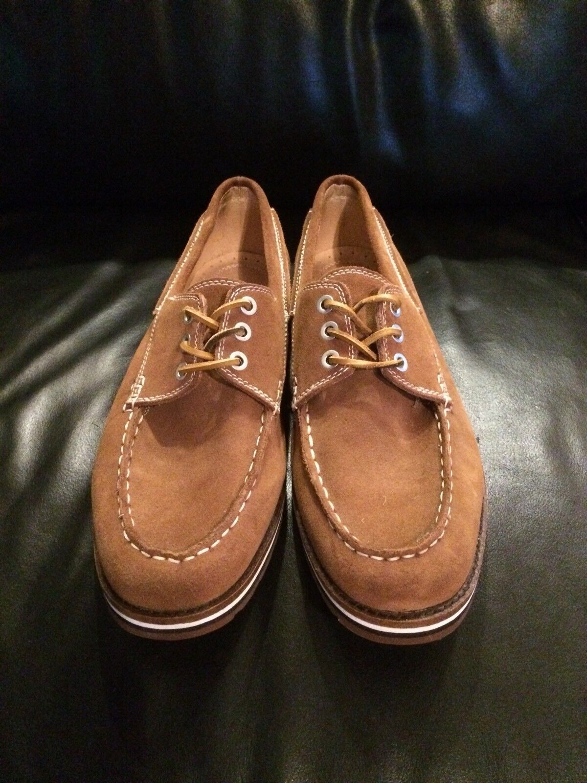 ☀️ Men's J.D. Fisk Leather Lace Up Oxfords Loafers Boat shoes Size 12 US