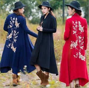 lunga Giacca in antivento lana donna Cappotto trench in misto da ricamato dfxwfrtqp