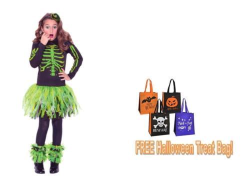 GIRL/'S  SIZE 4-6 HALLOWEEN COSTUME Green Skeleton Dress Gauntlets /& Headband