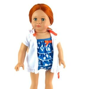 Blue-and-White-Bathing-Suit-and-Cover-up-Fits-18-034-American-Girl-Doll-Clothes