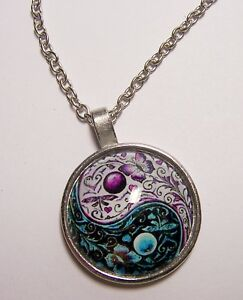 YIN-YANG-Design-Cabochon-Pendant-Necklace-w-Chain-Unique-Jewelry-Gift