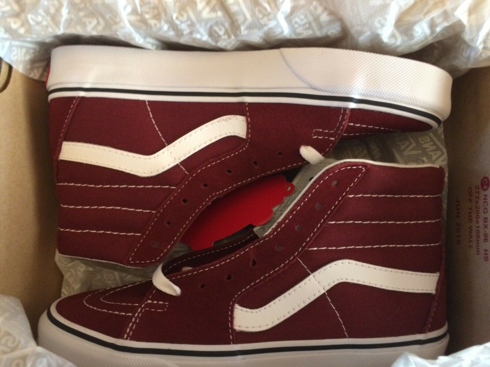 Men's Vans SK8-Hi Madder Brown True White VN0A38GEOVK Size Men 7.5 Women 9