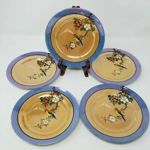 Set-of-5-Vintage-Made-in-Japan-Lusterware-Salad-Plates-Hand-Painted-Parrot