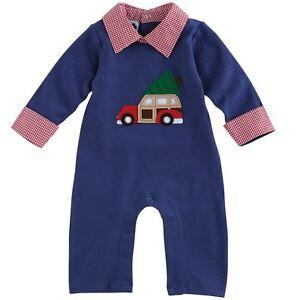 002f4fa02 MUD PIE BABY BOY CHRISTMAS NEW YEAR HOLIDAY CAR ONE PIECE 0-6M
