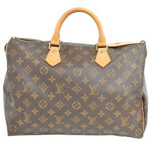 Louis-Vuitton-Speedy-35-M41524-Monogram-Boston-Satchel-Handbag-Bag-Brown-Gold