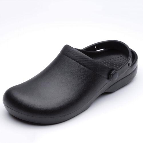Women Men Chef Shoes Sandal Clogs Safety Kitchen Non-Slip Restaurant Water Black