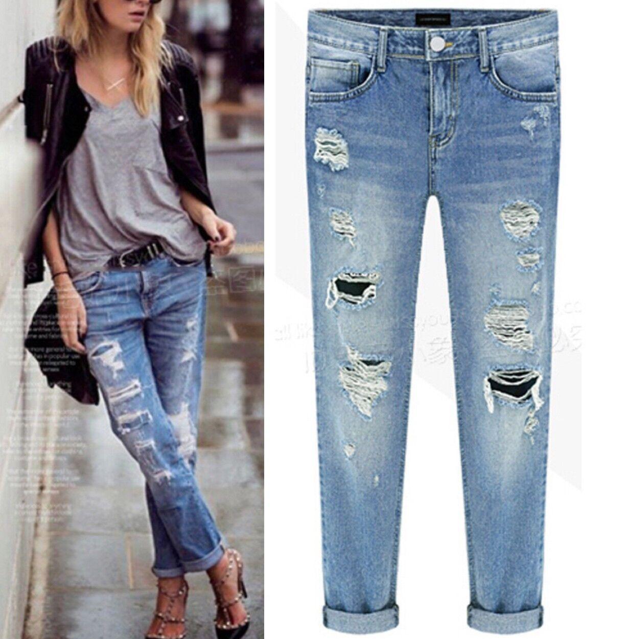 Jeans donna pantaloni strappi boyfriend cavallo basso ripped nuovi H5998