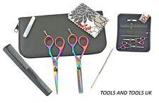 Quality TITANIUM 5.5'' Hairdressing Scissors Kit Shears Barber Salon Multi Color
