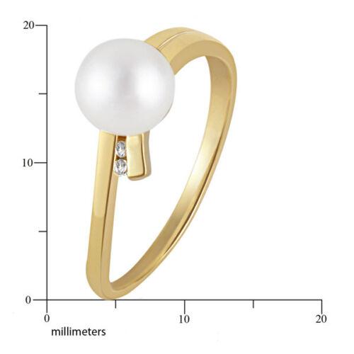 Goldmaid Ring Perle 375 Gelbgold Süßwasserperle 2 Diamanten Echtschmuck 0,02 ct.