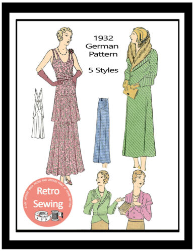 Skirt and Blouse Vintage German Sewing Pattern Coat 1930/'s Dress