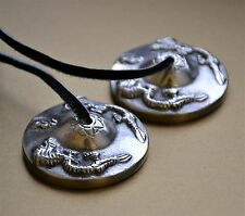 Tibetan Buddhist Silver Dragons Tingsha Bells Manjira Cymbals 4.5cm made Nepal