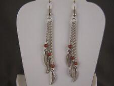 """silver Brown feather earrings triple multi chain dangle 3.5"""" long lightweight"""