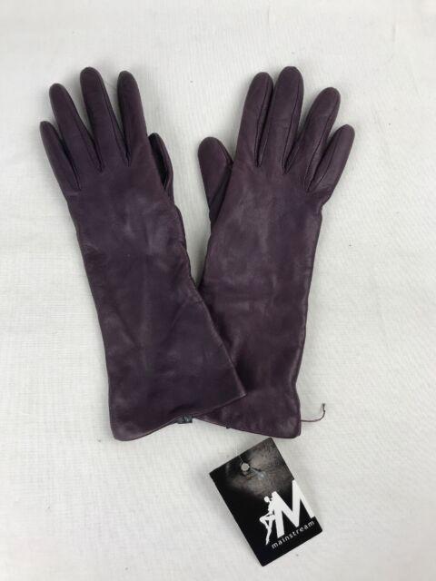 PORTOLANO Women's Purple GENUINE LEATHER Cashmere Lining Gloves Size 6.5