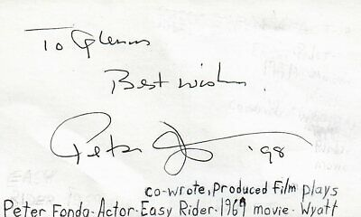 Entertainment Memorabilia Autographs-original Honest Peter Fonda Actor Producer Wyatt In Easy Rider Movie Signed Index Card Jsa Coa
