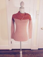 J Crew Painter Turtleneck Burnt Orange White Stripe Shirt XS