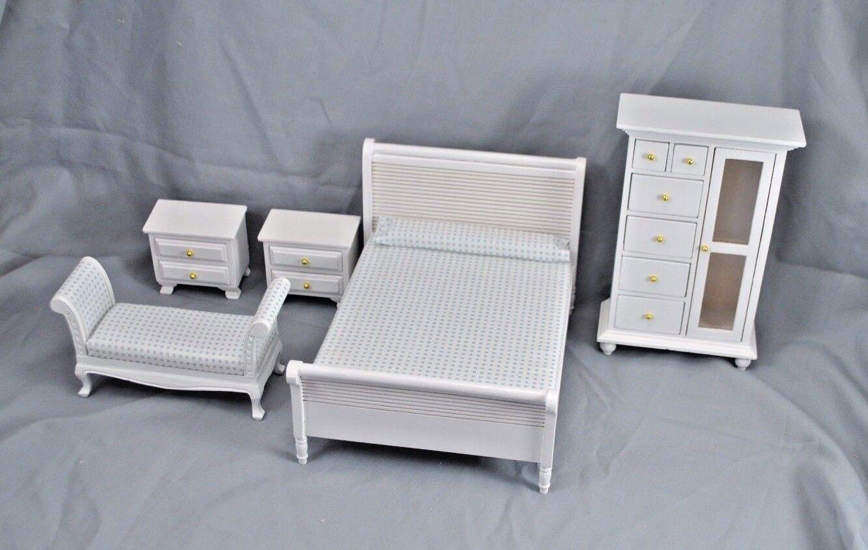 Schlafzimmer Bettwäschegarnitur Dollnhaus Möbel 5pc T0132 1 12 Maßstab Holz