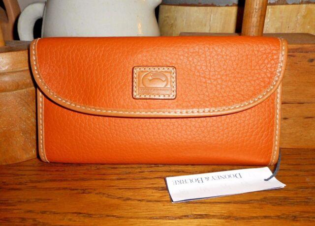 NEW! DOONEY & BOURKE Patterson Tangerine leather Continental clutch wallet $128