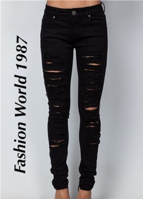 NEW WOMEN SKINNY RIPPED JEANS LOW WAISTED JEGGINGS/LEGGINGS/TROUSERS SIZE 6-14