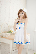 Sexy Sailor Girl Navy Uniform Costume White Dress for Cosplay & Lingerie Party