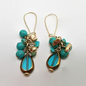 Faux-Turquoise-Blue-Glass-Teardrop-Shaped-Bead-Earrings