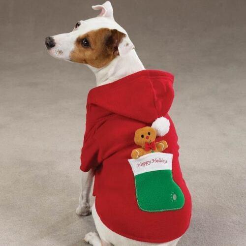 Zack /& Zoey GINGERBREAD MAN Fleece Hood Dog Toy Pom Poms Easy-On//Off Closure