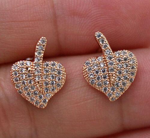 18K or jaune rempli-Chic Sweet heart leaf Topaz Zircon Stud Lady Boucles d/'oreilles