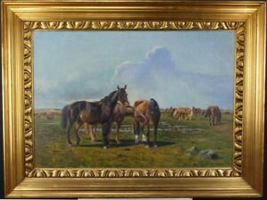 Niels-Walseth-1914-2001-on-the-summer-pasture-Oil-Painting-Signed