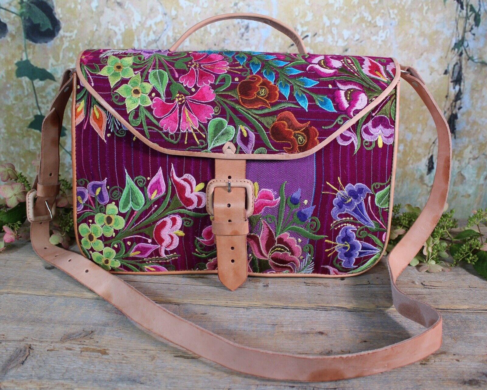 Briefcase Shoulder Bag Handmade Leather & Zinacantan Textile Maya Chiapas Mexico