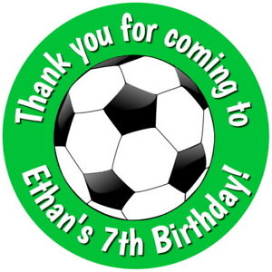 012 Personalised Football Birthday Stickers Party Thank You Sweet Cones Labels