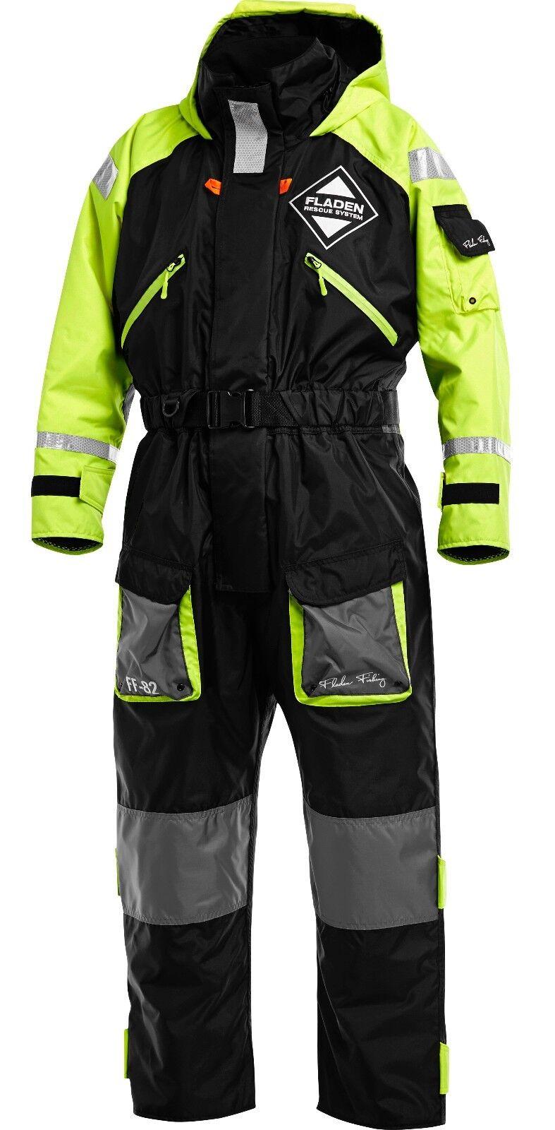 Fladen flotación traje, cálidas, impermeable Negro y Amarillo Grande L