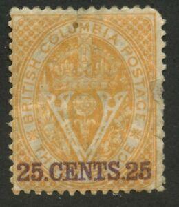 British-Columbia-Seal-1867-25c-on-3c-orange-Perf-14-11-mhr