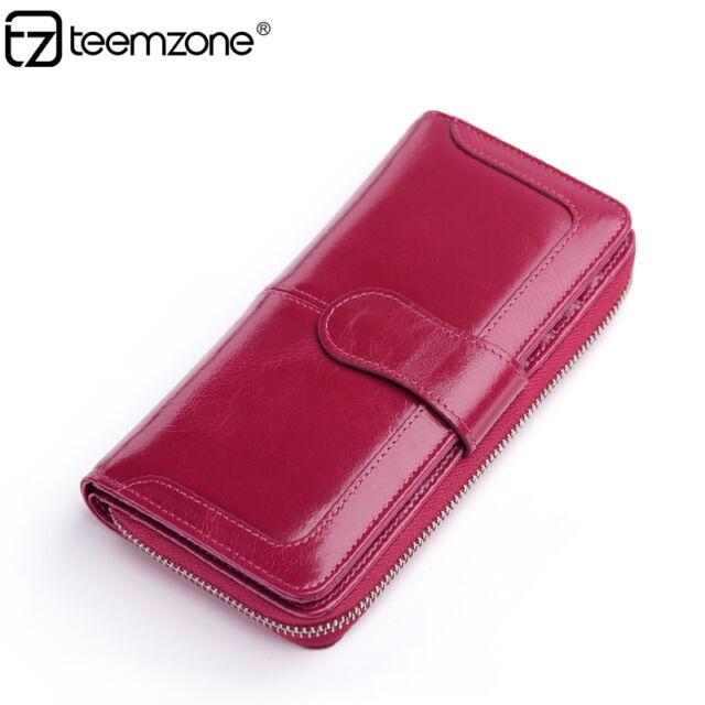 Women Real Leather Zipper Clutch Organizer Wallet ID Coin Phone Purse Handbag