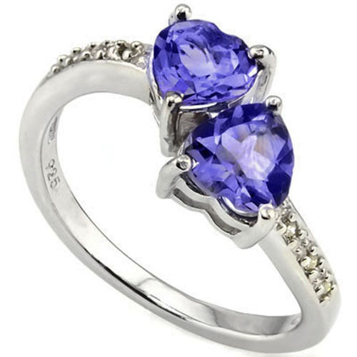 LOVELY 2.98 CTW GENUINE DIAMOND /& TANZANIT IN 925 STERLING SILVER TWO HEART RING